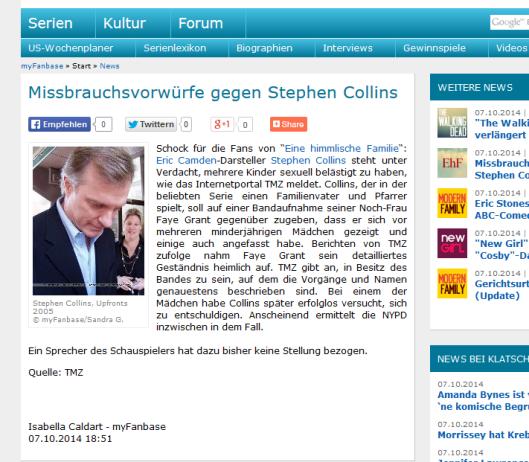 Missbrauchsvorwürfe gegen Stephen Collins